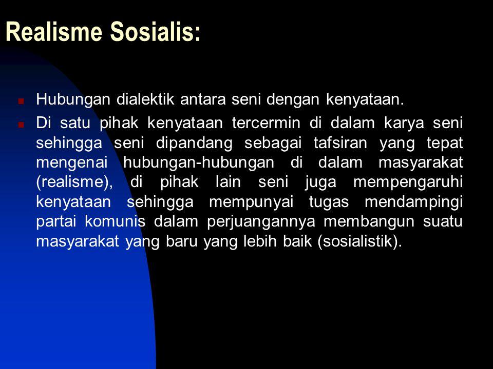 Realisme Sosialis: Hubungan dialektik antara seni dengan kenyataan.