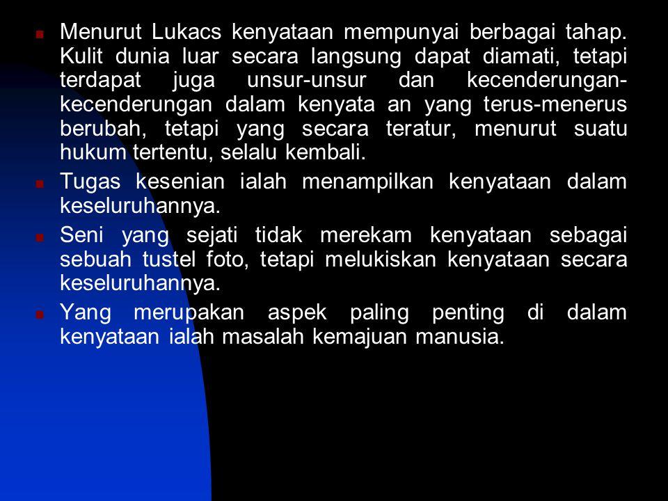 Menurut Lukacs kenyataan mempunyai berbagai tahap