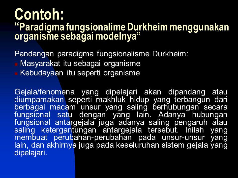 Contoh: Paradigma fungsionalime Durkheim menggunakan organisme sebagai modelnya