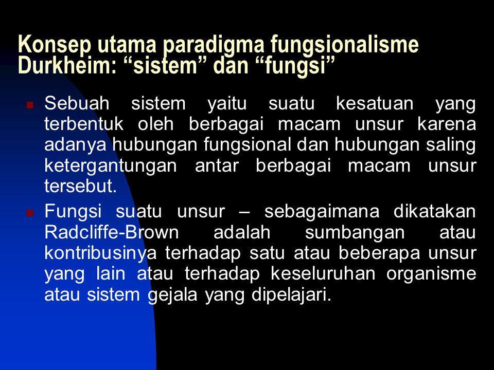 Konsep utama paradigma fungsionalisme Durkheim: sistem dan fungsi