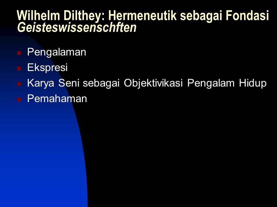 Wilhelm Dilthey: Hermeneutik sebagai Fondasi Geisteswissenschften