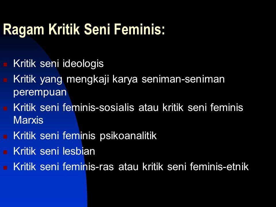 Ragam Kritik Seni Feminis: