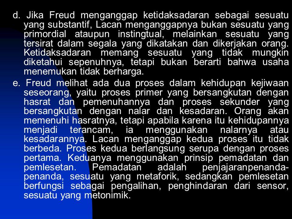 d. Jika Freud menganggap ketidaksadaran sebagai sesuatu yang substantif, Lacan menganggapnya bukan sesuatu yang primordial ataupun instingtual, melainkan sesuatu yang tersirat dalam segala yang dikatakan dan dikerjakan orang. Ketidaksadaran memang sesuatu yang tidak mungkin diketahui sepenuhnya, tetapi bukan berarti bahwa usaha menemukan tidak berharga.