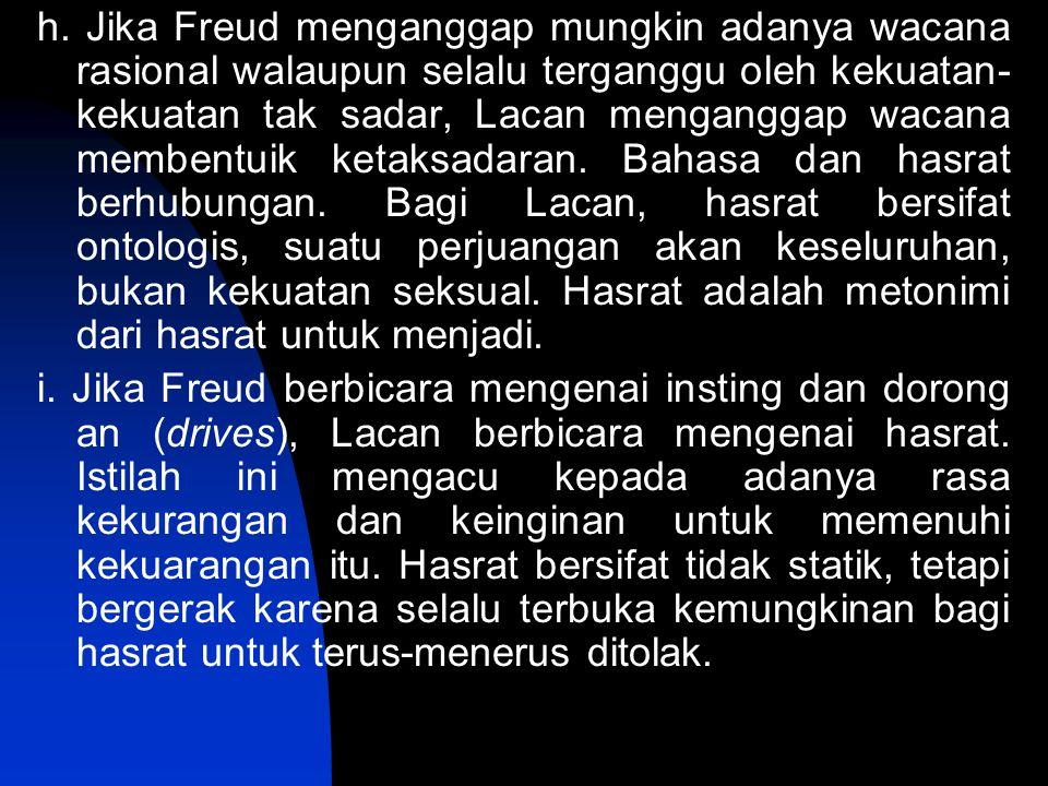 h. Jika Freud menganggap mungkin adanya wacana rasional walaupun selalu terganggu oleh kekuatan-kekuatan tak sadar, Lacan menganggap wacana membentuik ketaksadaran. Bahasa dan hasrat berhubungan. Bagi Lacan, hasrat bersifat ontologis, suatu perjuangan akan keseluruhan, bukan kekuatan seksual. Hasrat adalah metonimi dari hasrat untuk menjadi.