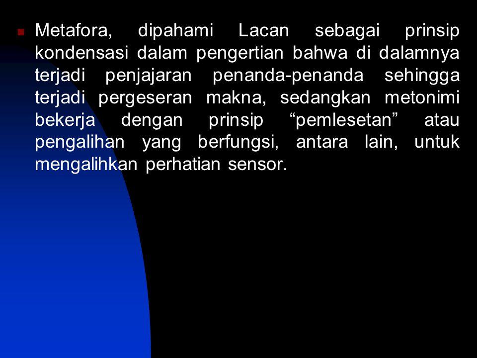 Metafora, dipahami Lacan sebagai prinsip kondensasi dalam pengertian bahwa di dalamnya terjadi penjajaran penanda-penanda sehingga terjadi pergeseran makna, sedangkan metonimi bekerja dengan prinsip pemlesetan atau pengalihan yang berfungsi, antara lain, untuk mengalihkan perhatian sensor.