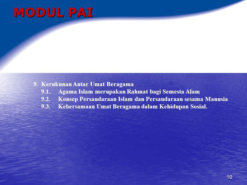 MODUL PAI 9. Kerukunan Antar Umat Beragama