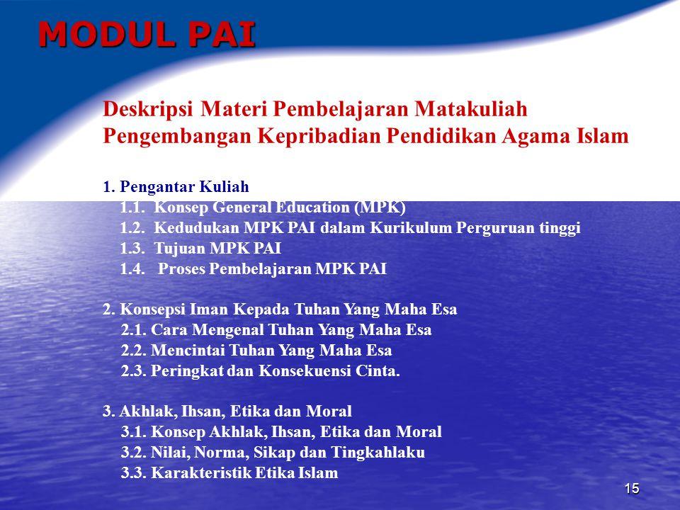 MODUL PAI Deskripsi Materi Pembelajaran Matakuliah Pengembangan Kepribadian Pendidikan Agama Islam.