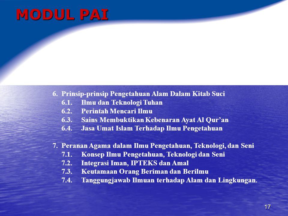MODUL PAI 6. Prinsip-prinsip Pengetahuan Alam Dalam Kitab Suci