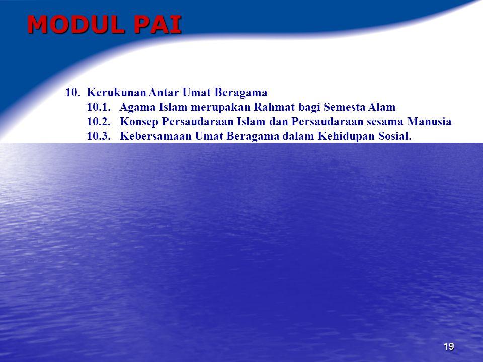 MODUL PAI 10. Kerukunan Antar Umat Beragama
