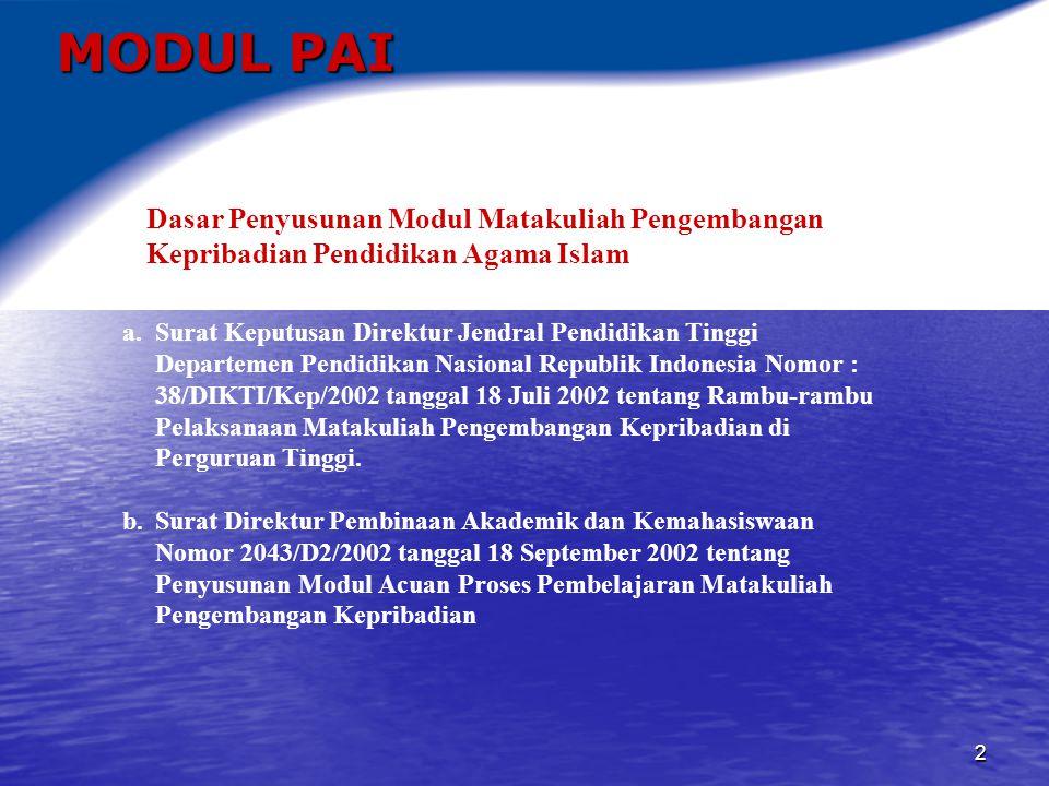 MODUL PAI Dasar Penyusunan Modul Matakuliah Pengembangan Kepribadian Pendidikan Agama Islam.