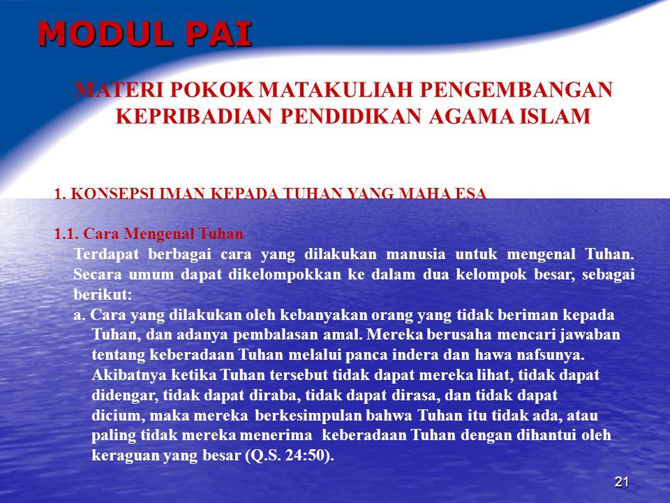 MODUL PAI MATERI POKOK MATAKULIAH PENGEMBANGAN KEPRIBADIAN PENDIDIKAN AGAMA ISLAM. 1. KONSEPSI IMAN KEPADA TUHAN YANG MAHA ESA.
