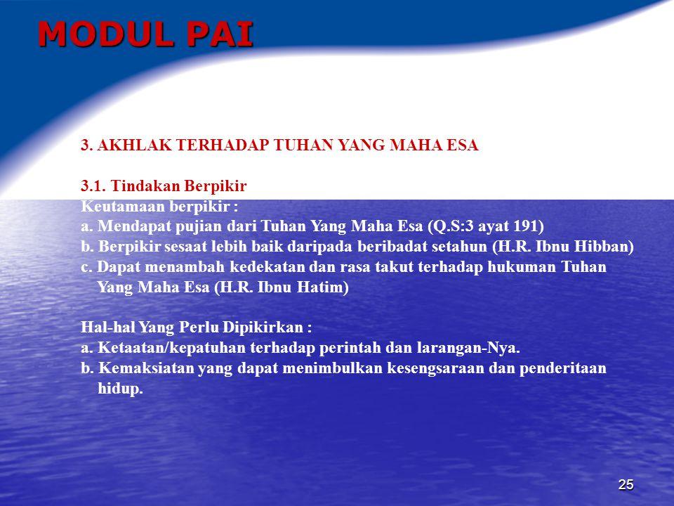 MODUL PAI 3. AKHLAK TERHADAP TUHAN YANG MAHA ESA
