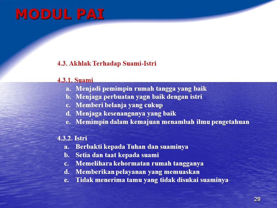 MODUL PAI 4.3. Akhlak Terhadap Suami-Istri 4.3.1. Suami