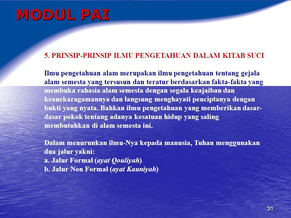 MODUL PAI 5. PRINSIP-PRINSIP ILMU PENGETAHUAN DALAM KITAB SUCI