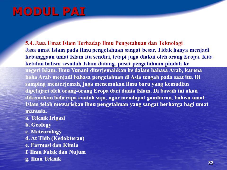 MODUL PAI 5.4. Jasa Umat Islam Terhadap Ilmu Pengetahuan dan Teknologi