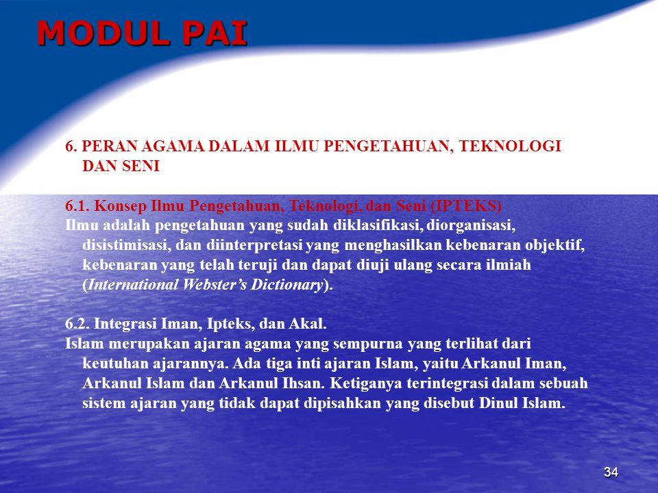 MODUL PAI 6. PERAN AGAMA DALAM ILMU PENGETAHUAN, TEKNOLOGI DAN SENI