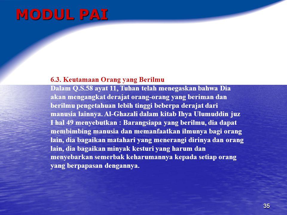 MODUL PAI 6.3. Keutamaan Orang yang Berilmu