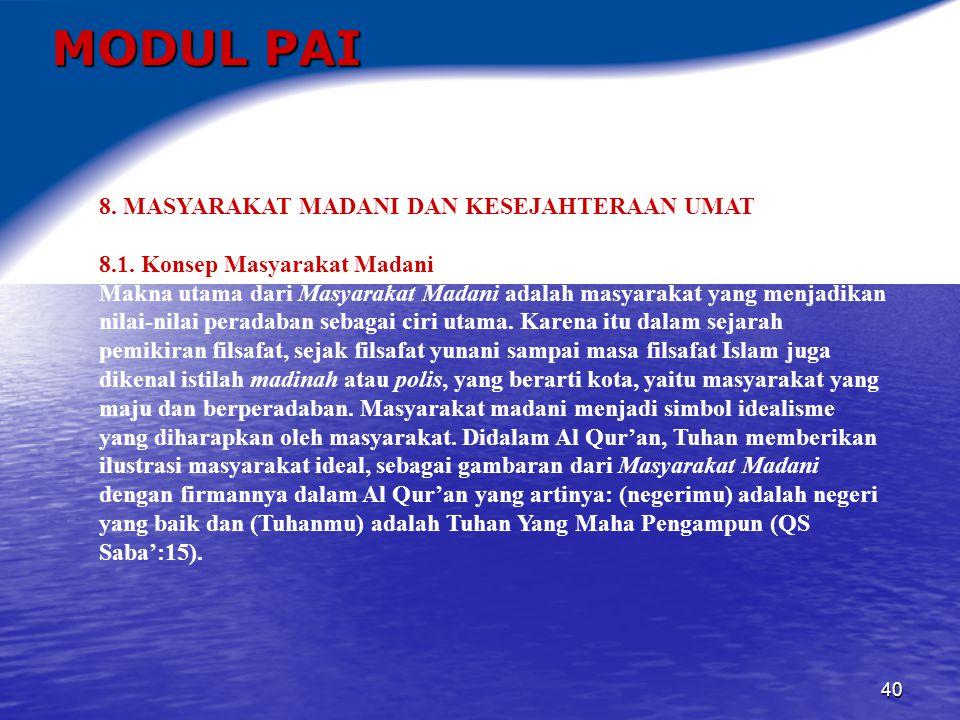MODUL PAI 8. MASYARAKAT MADANI DAN KESEJAHTERAAN UMAT