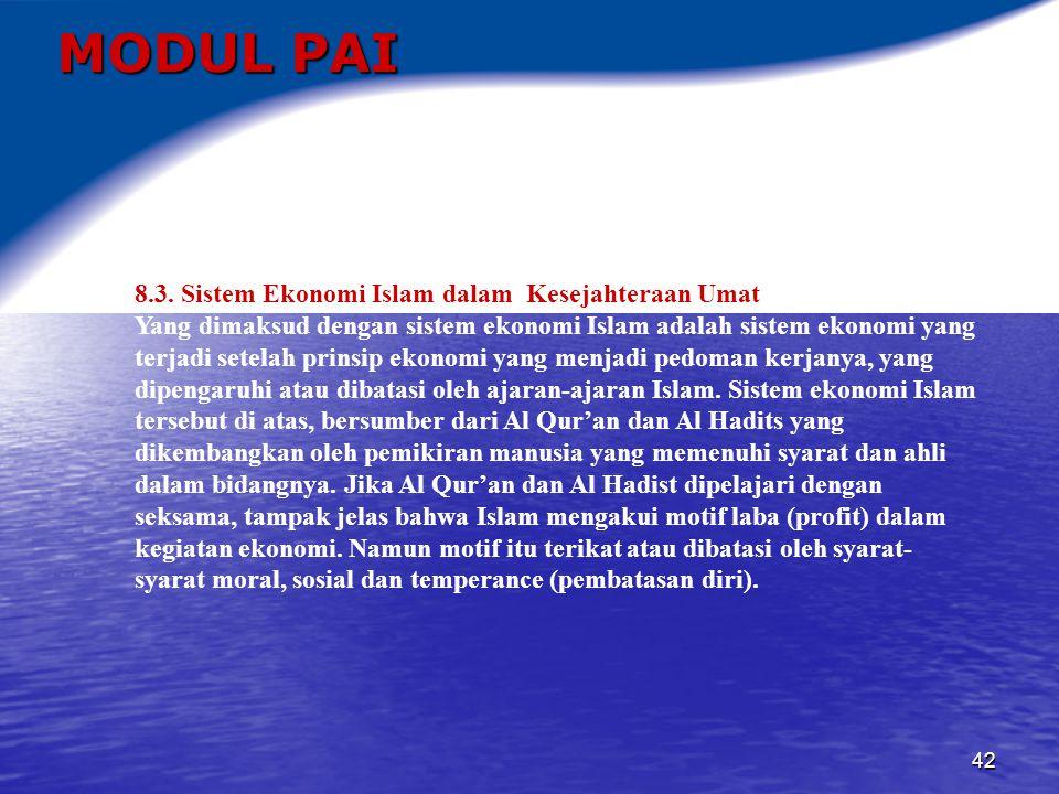 MODUL PAI 8.3. Sistem Ekonomi Islam dalam Kesejahteraan Umat