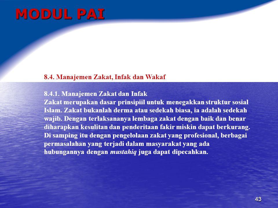 MODUL PAI 8.4. Manajemen Zakat, Infak dan Wakaf