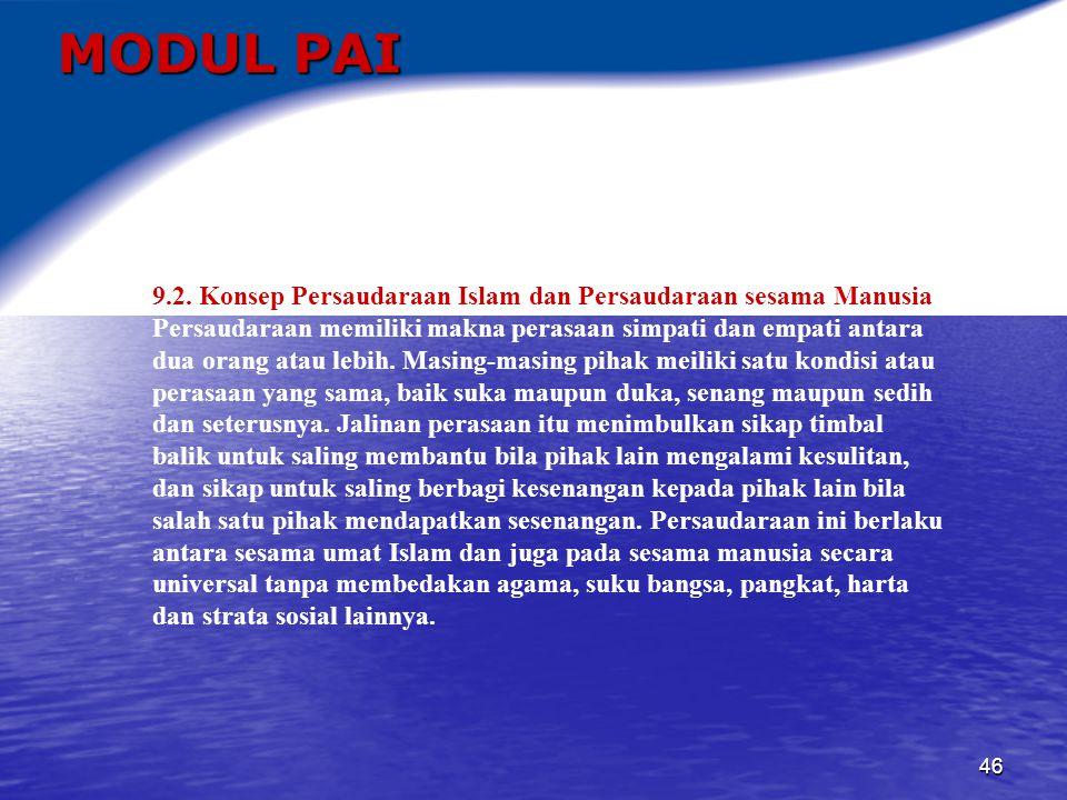 MODUL PAI 9.2. Konsep Persaudaraan Islam dan Persaudaraan sesama Manusia.