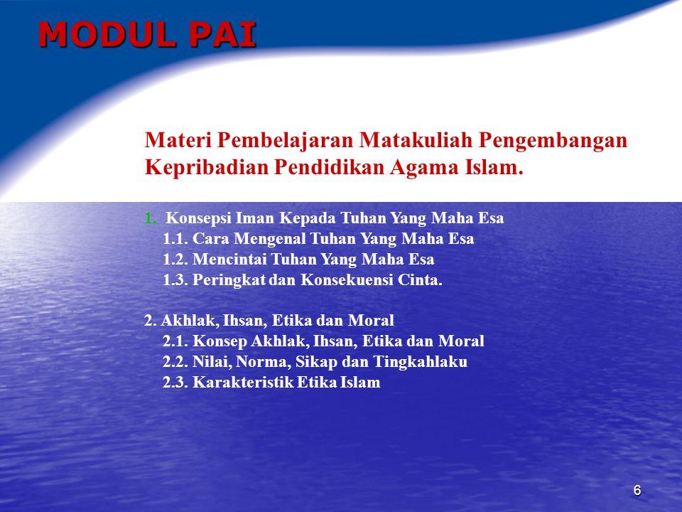 MODUL PAI Materi Pembelajaran Matakuliah Pengembangan Kepribadian Pendidikan Agama Islam. Konsepsi Iman Kepada Tuhan Yang Maha Esa.