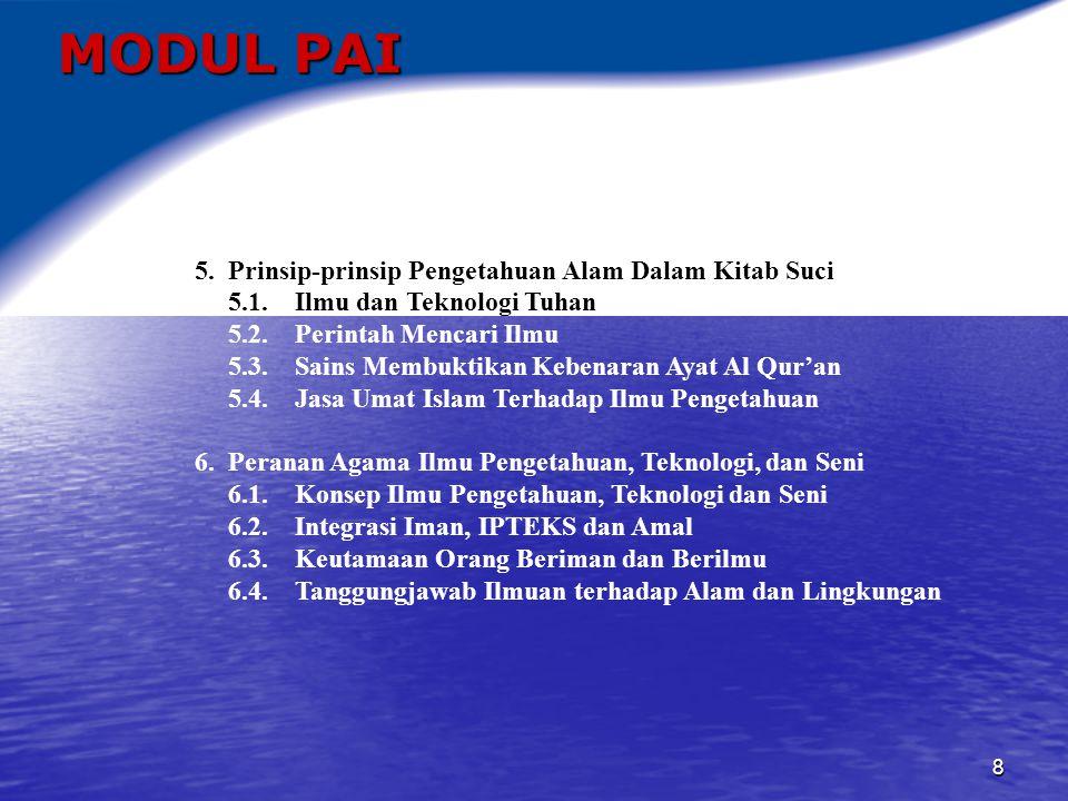MODUL PAI 5. Prinsip-prinsip Pengetahuan Alam Dalam Kitab Suci