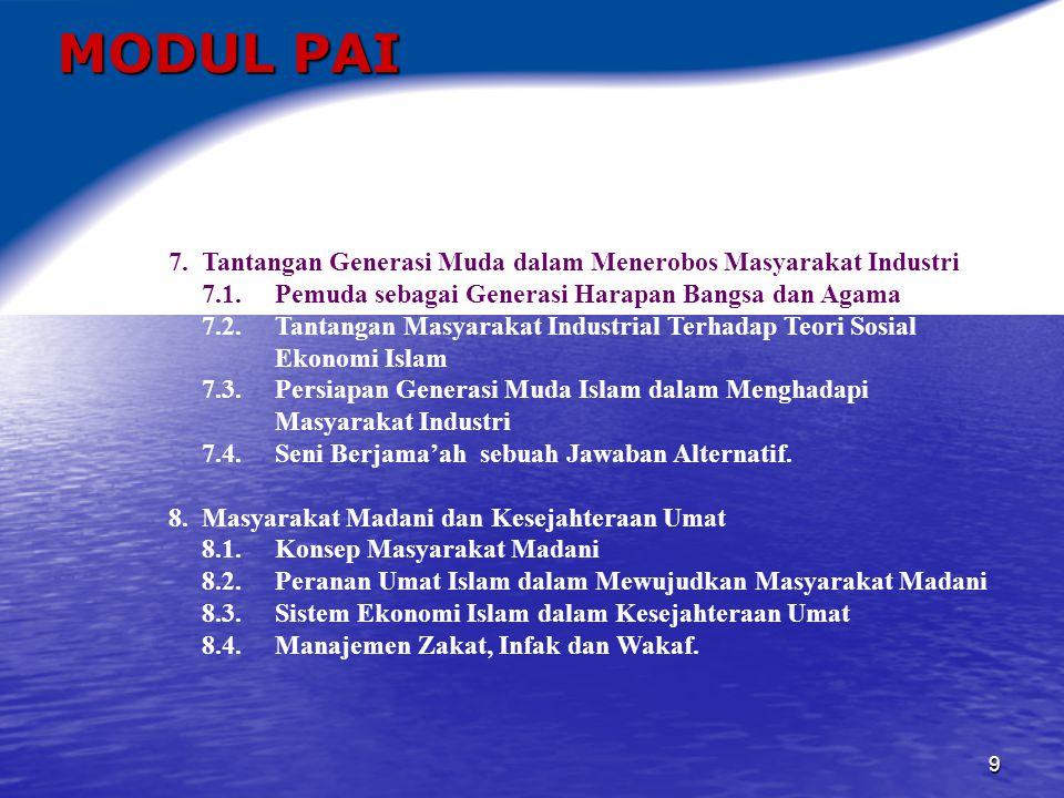 MODUL PAI 7. Tantangan Generasi Muda dalam Menerobos Masyarakat Industri. 7.1. Pemuda sebagai Generasi Harapan Bangsa dan Agama.