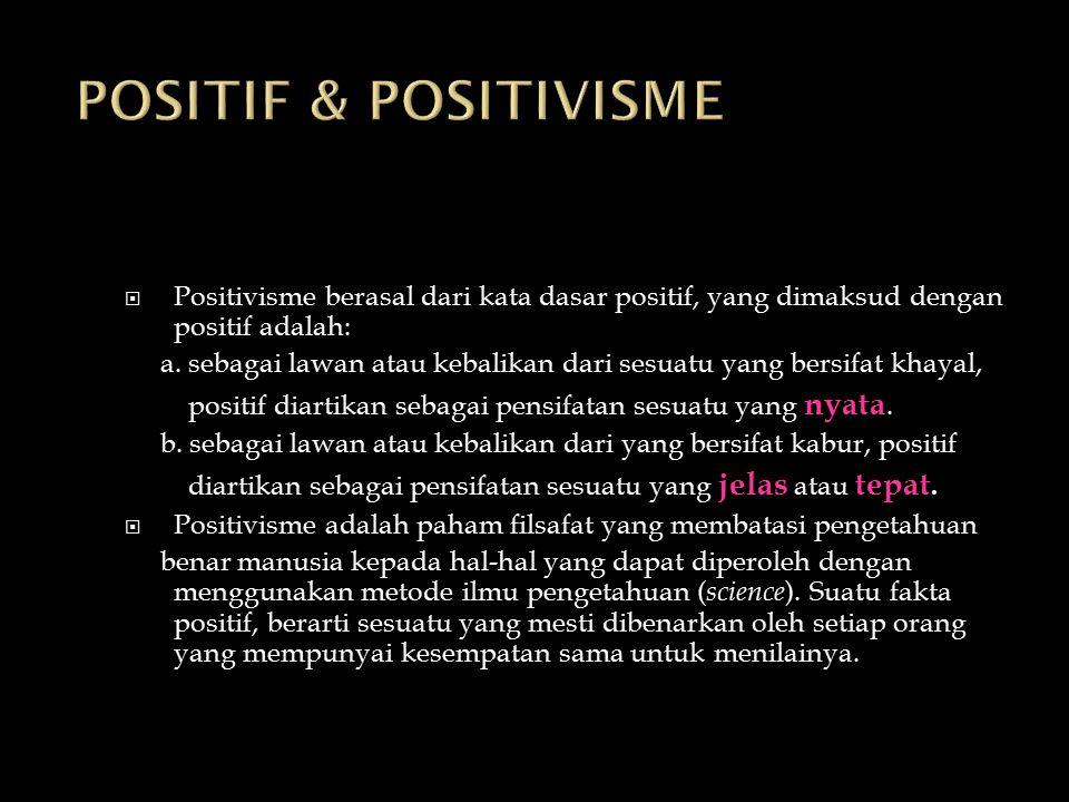 POSITIF & POSITIVISME Positivisme berasal dari kata dasar positif, yang dimaksud dengan positif adalah: