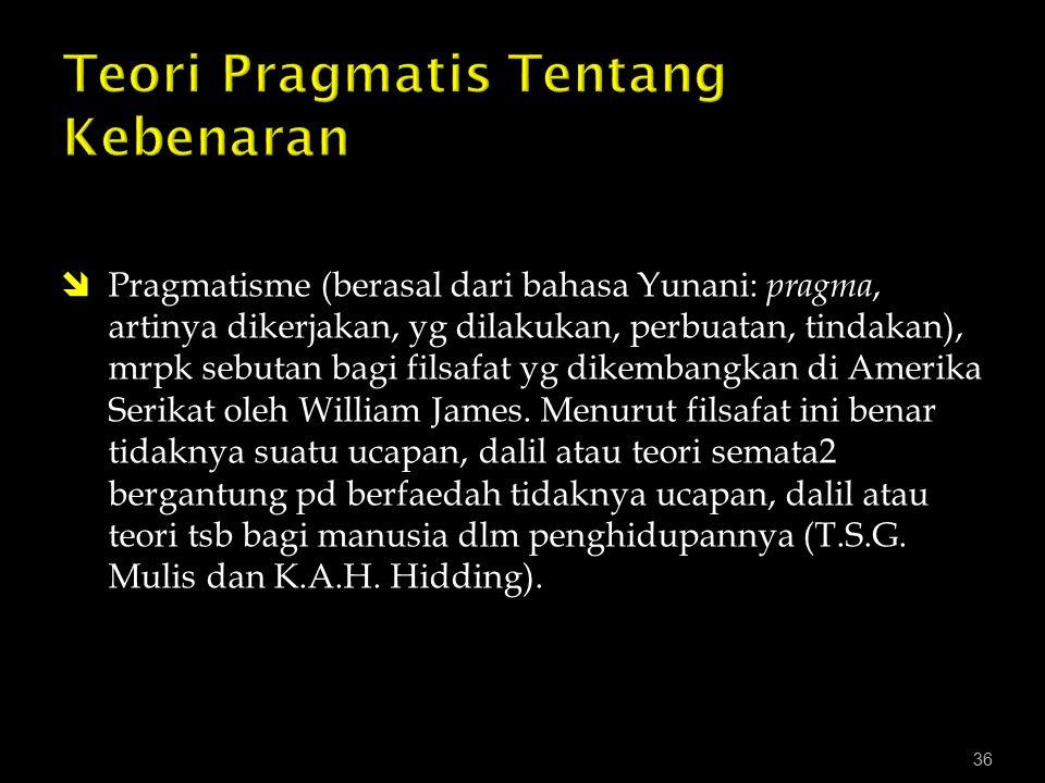 Teori Pragmatis Tentang Kebenaran