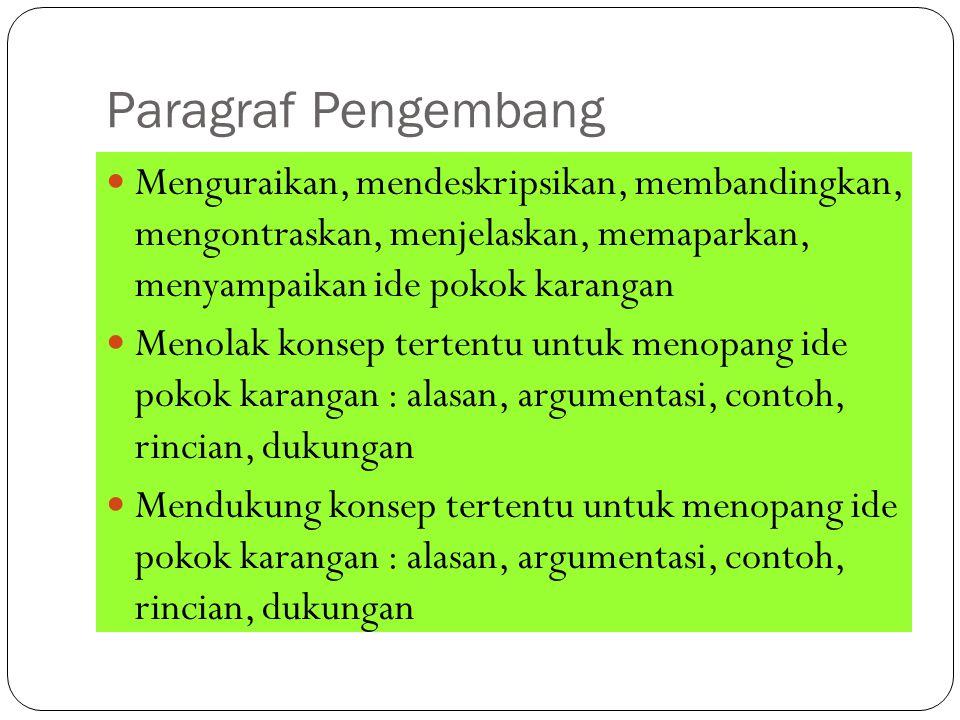 Paragraf Pengembang Menguraikan, mendeskripsikan, membandingkan, mengontraskan, menjelaskan, memaparkan, menyampaikan ide pokok karangan.