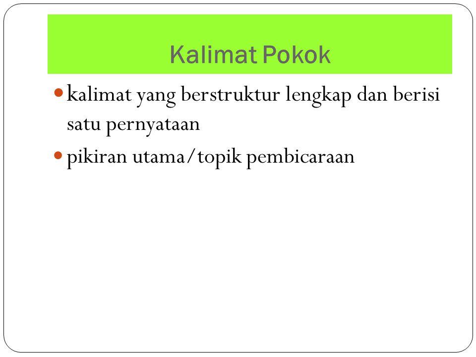kalimat yang berstruktur lengkap dan berisi satu pernyataan