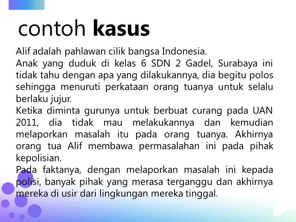 contoh kasus Alif adalah pahlawan cilik bangsa Indonesia.