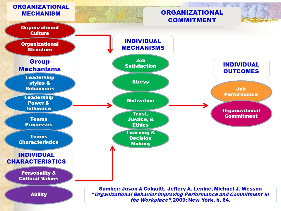 organisational commitment types job related outcomes are