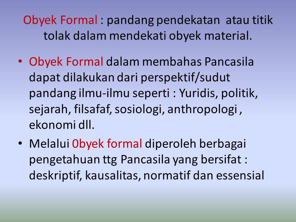 Obyek Formal : pandang pendekatan atau titik tolak dalam mendekati obyek material.