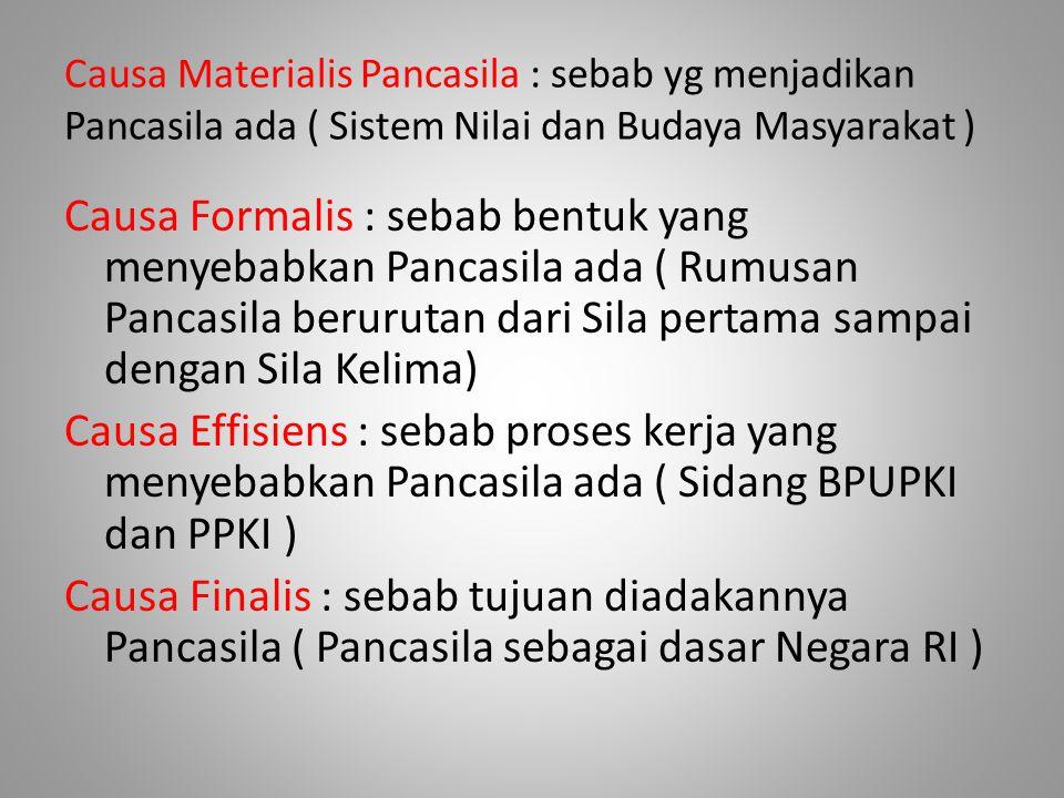 Causa Materialis Pancasila : sebab yg menjadikan Pancasila ada ( Sistem Nilai dan Budaya Masyarakat )