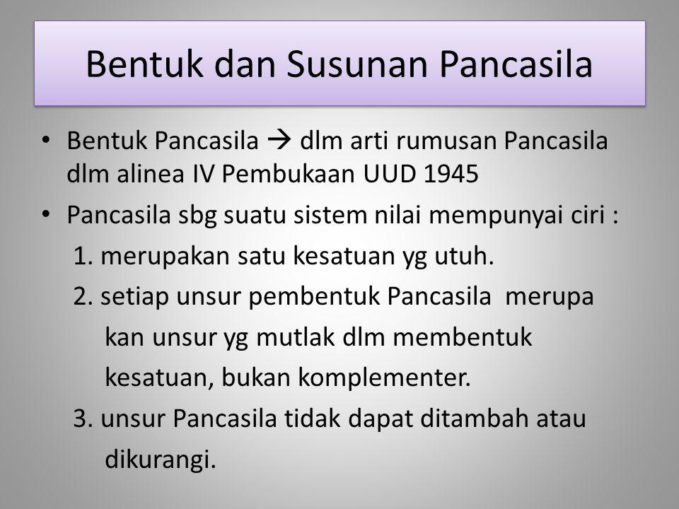 Bentuk dan Susunan Pancasila