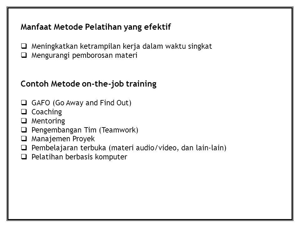 Manfaat Metode Pelatihan yang efektif