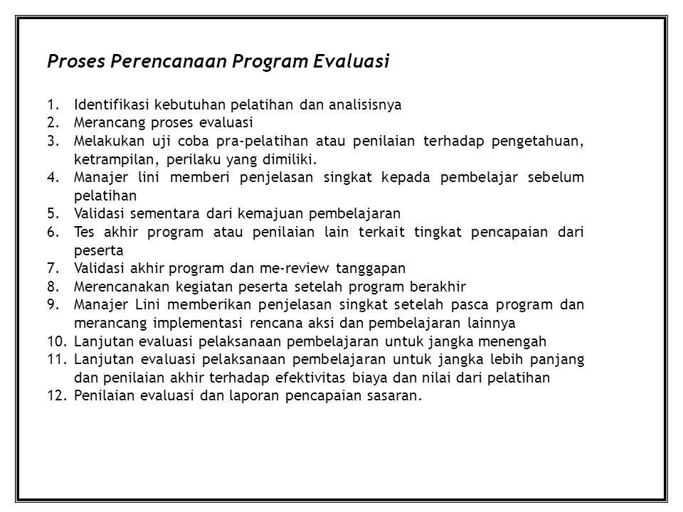 Proses Perencanaan Program Evaluasi