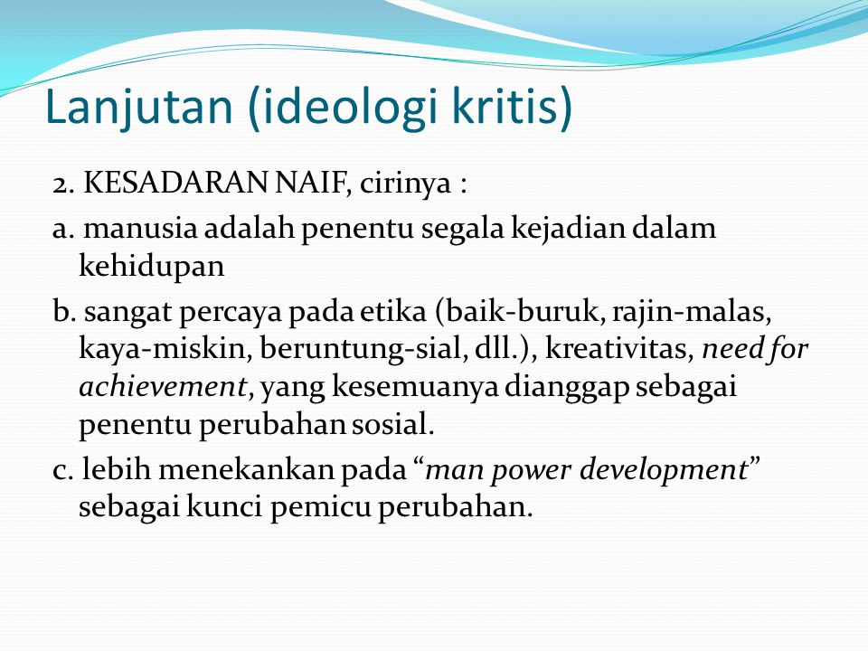 Lanjutan (ideologi kritis)