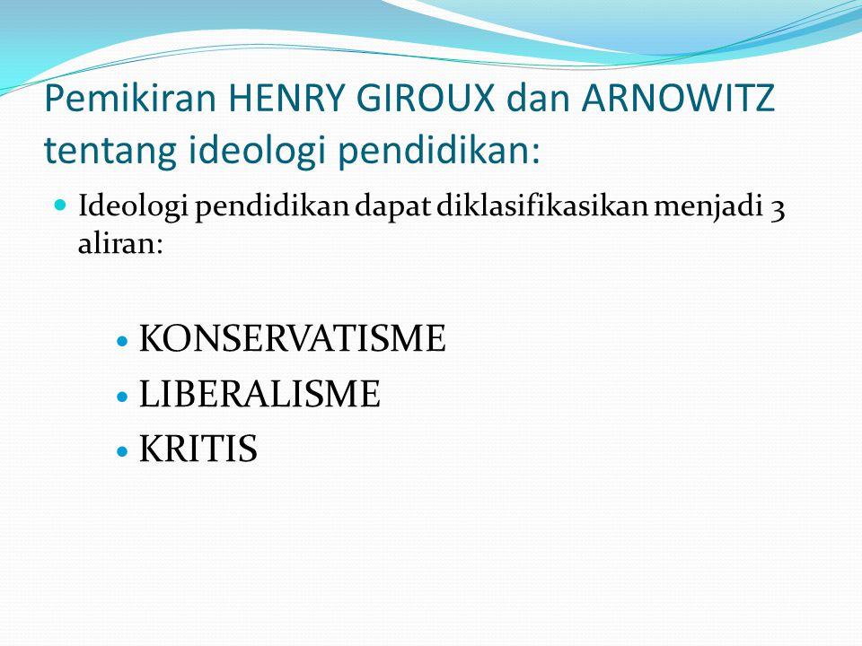 Pemikiran HENRY GIROUX dan ARNOWITZ tentang ideologi pendidikan: