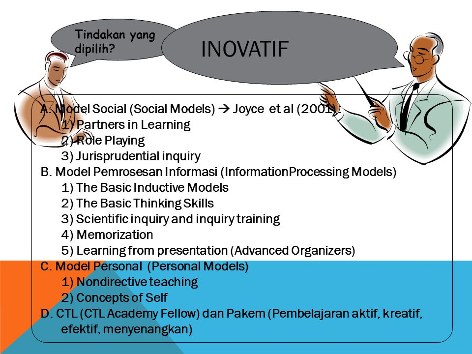 INOVATIF A. Model Social (Social Models)  Joyce et al (2001) :