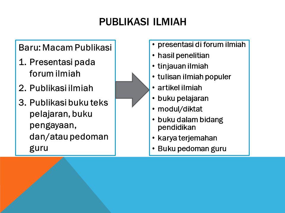 PUBLIKASI ILMIAH Baru: Macam Publikasi Presentasi pada forum ilmiah