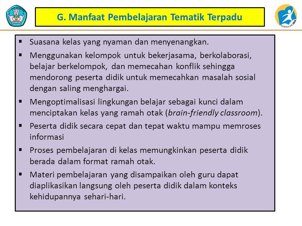 G. Manfaat Pembelajaran Tematik Terpadu