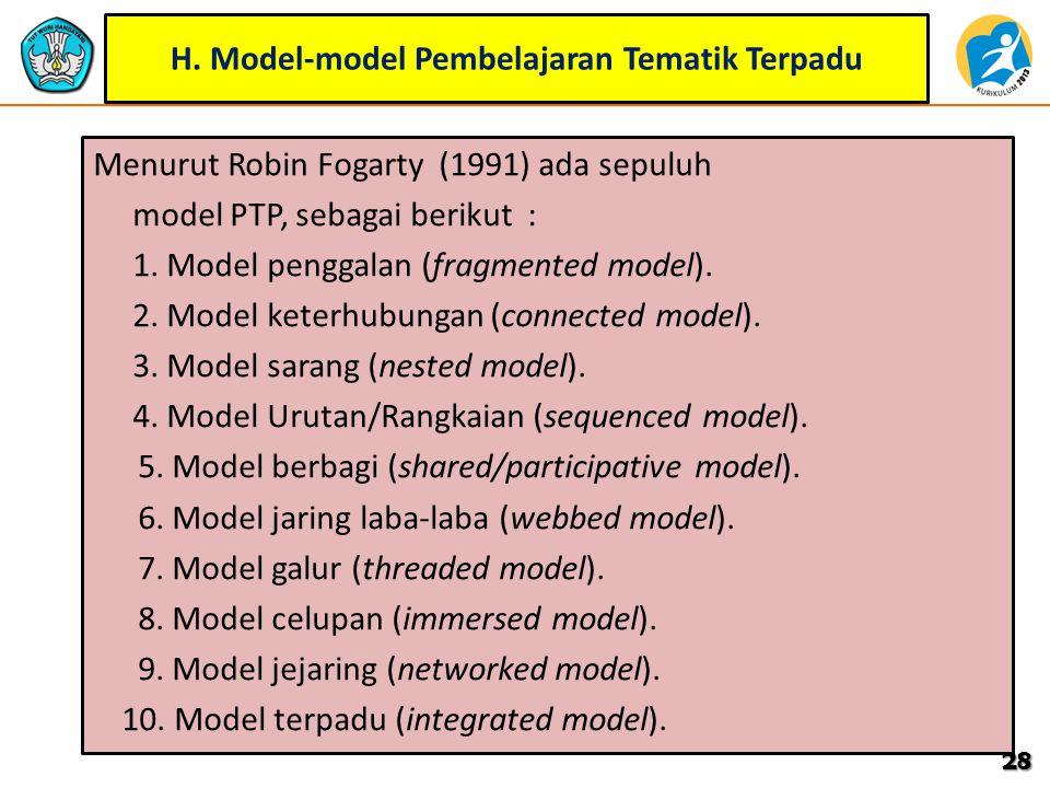 H. Model-model Pembelajaran Tematik Terpadu
