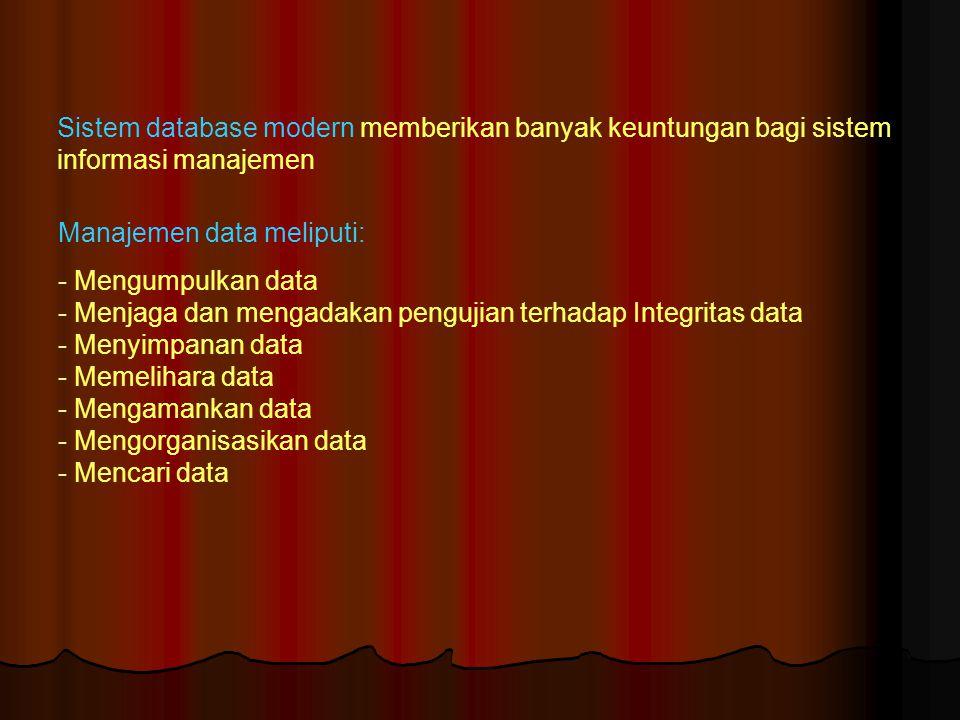 Sistem database modern memberikan banyak keuntungan bagi sistem informasi manajemen