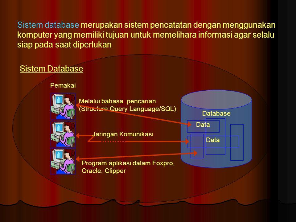 Sistem database merupakan sistem pencatatan dengan menggunakan komputer yang memiliki tujuan untuk memelihara informasi agar selalu siap pada saat diperlukan