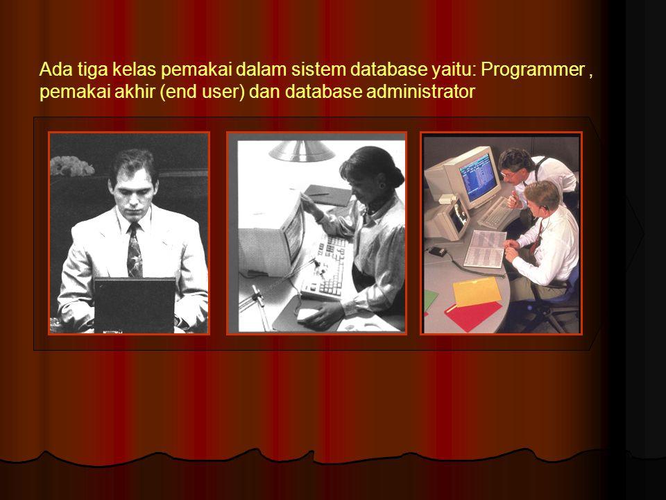 Ada tiga kelas pemakai dalam sistem database yaitu: Programmer , pemakai akhir (end user) dan database administrator