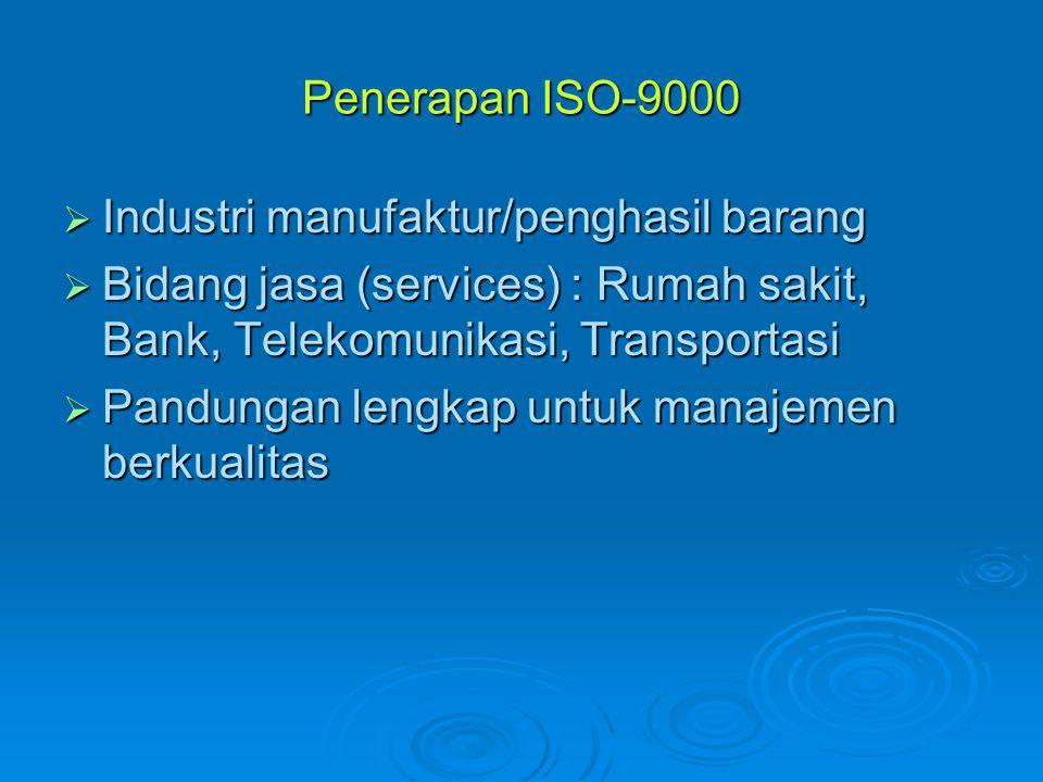 Penerapan ISO-9000 Industri manufaktur/penghasil barang. Bidang jasa (services) : Rumah sakit, Bank, Telekomunikasi, Transportasi.