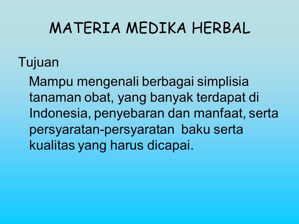 MATERIA MEDIKA HERBAL Tujuan